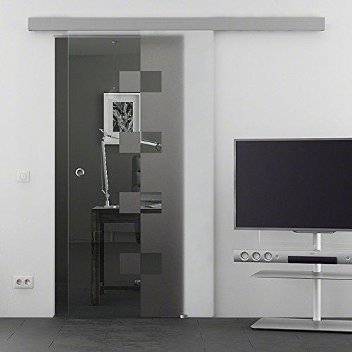 Glazen schuifdeur van LEVIDOR® Basic System met gehard veiligheidsglas in 900 x 2050 mm in kubus-design (W) zeer hoogwaardige rustige en elegante looprail incl. grepen om te schroeven en niet gelijmd