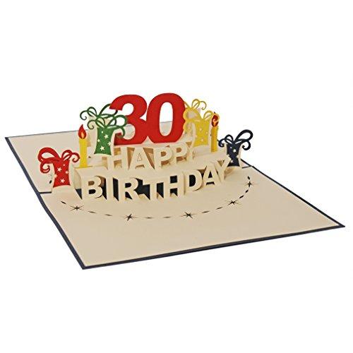 Favour Pop Up Glückwunschkarte zum runden 30. Geburtstag. Ein filigranes Kunstwerk, das sich beim Öffnen als Geburtstagstorte entfaltet. ALTA30B