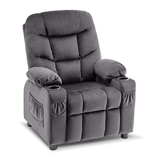 Mcombo Big Kids Recliner Chair with Cup Holders for Boys and Girls Room, 2 Side Pockets, 3+ Age Group, Velvet Fabric 7355 (Dark Gray)