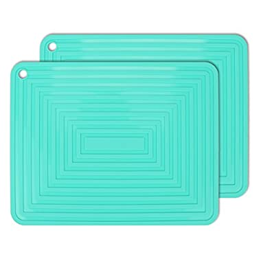 2 Pack,Silicone Trivet Mats/Hot Pads,Pot Holder,9 x12  Non Slip Flexible Durable Heat Resistant Pot Coaster Kitchen Table Mats (Teal)