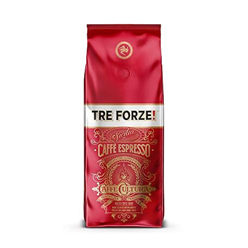 TRE FORZE! Espresso Caffè - 1kg Bohnen - Traditionelles Rösten über Olivenholzfeuer In Handarbeit - Premium Kaffeebohnen für Vollautomat und Siebträger