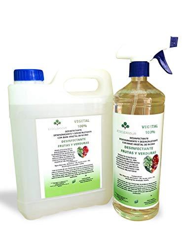 TENPRO CLEAN 3 litros Desinfectante para Frutas y Verduras Producto 100% Vegetal a Base de bioetanol y ricino. Sin lejía, no toxico. 2+1L ATOMIZADOR