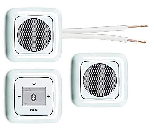 Busch Jäger Unterputz Bluetooth Radio 8217 U (8217U) alpinweiß Reflex SI + 2 x Lautsprecher + Radio + Abdeckung + 3 x 1-fach Rahmen + 10 m Lautsprecherkabel 2x0,75 mm²