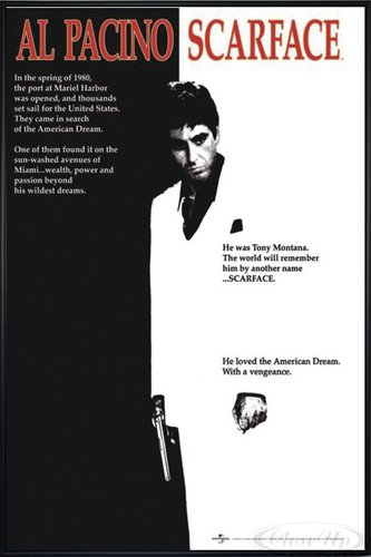Close Up Scarface Poster (93x62 cm) gerahmt in: Rahmen schwarz