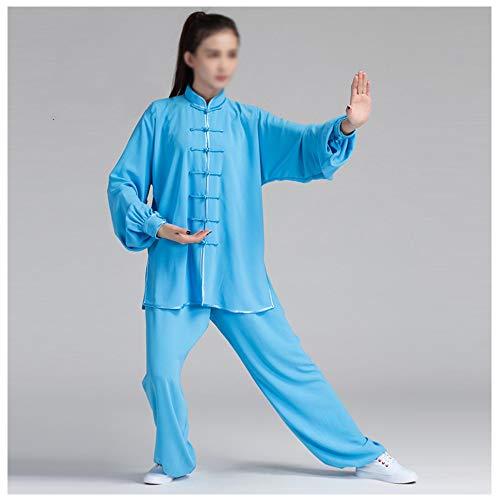Tai Chi Anzug Kung Fu Kleidung, Tai Chi Uniform Bekleidung Qi Gong Kampfkunst Wing Chun Shaolin Kung Fu Taekwondo Trainingsbekleidung Bekleidung,Blue-L