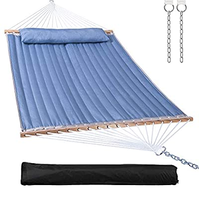 14ft Quilted Hammock with Bamboo Spreader Bar,Detachable Pillow,Large Hammock 2 Person for Patio,Garden,Heavy Duty 475 lbs Capacity(Blue)