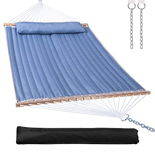 Mansion Home Quilted Hammock with Bamboo Spreader Bar,Detachable Pillow,Large Hammock 2 Person for...