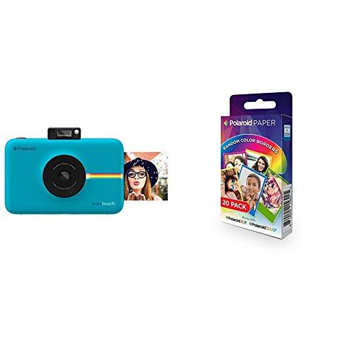 Polaroid SNAP Touch - Cámara digital con impresión instantánea y pantalla LCD (azul) con tecnología Zero Zink + Polaroid Paper - Paquete de 20 papeles fotográficos (tecnología ZINK Zero Ink, compatibles con Polaroid Snap y Polaroid ZIP, 5 x 7.6 cm), márgenes en colores surtidos