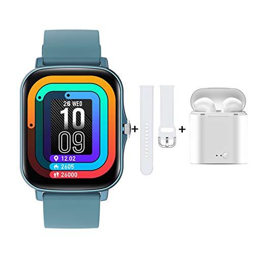 Smart Watch 2021 - Reloj inteligente con botón de rotación de pantalla táctil completo para Android e iOS (color: O, tamaño: con caja al por menor)
