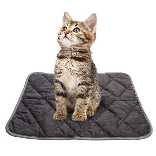 Self Heating Cat Pad Pet Mat Dog Beds, Warming Pad Cozy Thermal Cat Mat,Soft Crate Mat with Anti-Slip (Small(15.7x19.7 ), Gray)