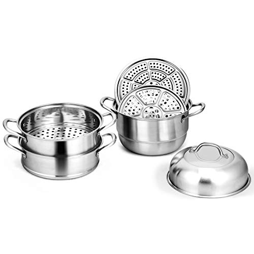 Casart Stainless Steel Steamer Pot 6 Quart W/ 2 Steaming Septa and Tempered Glass Lid, Adjustable temperature on Gas, Electric, Grill Stove 3 Tier Steamer Set