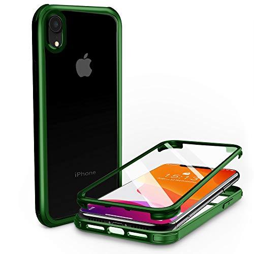 PHONEAURA Carcasa completa para iPhone delantero y trasero de 360 grados con dos protectores de pantalla para iPhone XR (protección completa, carcasa doble) (iPhone XR, verde)