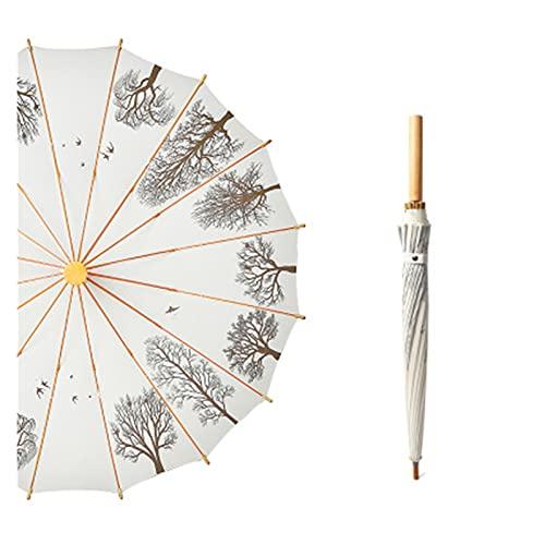 YNLRY Sombrilla de mango largo de 16 huesos, estilo retro, con mango de madera, paraguas de estilo chino, lluvia soleada, doble propósito (color blanquecino)