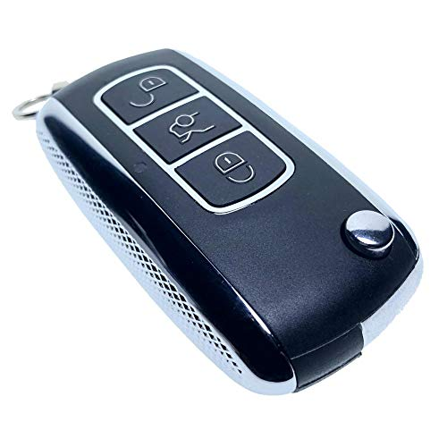 Uniqkey Chrome Style All in One Flip key remote Replacement for CTS L2C0005T PK3+ Keyless Entry Control Fob Clicker switchblade Transmitter folding transponder chip