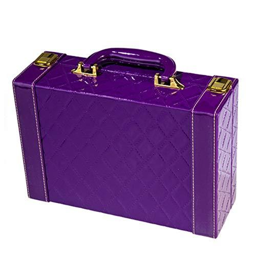 Sac Cosmétique Boîte à Bijoux Portable en Cuir Brillant Dames de boîte de Rangement Voyage de Maison Portable 27 cm * 9 cm * 18 cm, Violet