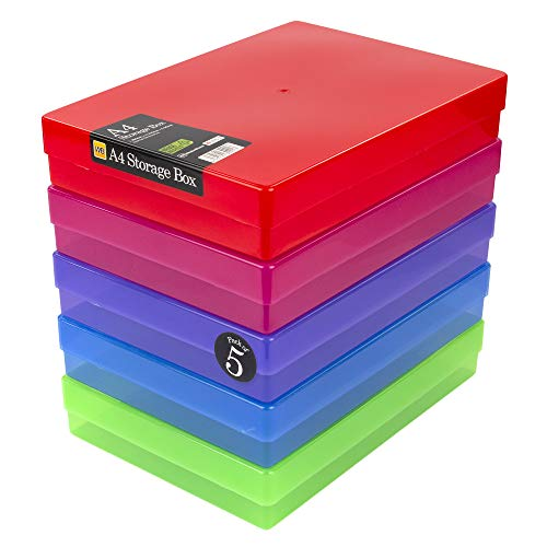 WestonBoxes - A4 Box zur Aufbewahrung von Papier, Karten und Anderen Bastelartikeln und Werkzeugen (Mehrfarbig, 5 Stück)