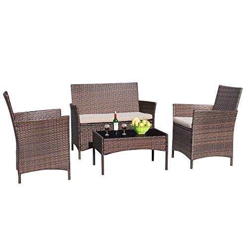 Greesum GS-4RCS8BG 4 Pieces Patio Outdoor Rattan, Wicker Chair Conversation, Garden Backyard Balcony Porch Poolside Furniture Sets with Soft Cushion and Glass Table, Brown and Beige