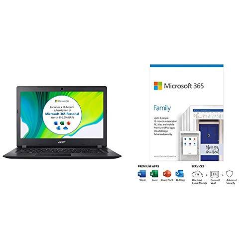 Acer Aspire 1 A114-32 14 inch Laptop (Intel Celeron N4020, 4GB RAM, 64GB eMMC, Full H + Microsoft 365 Family | Box