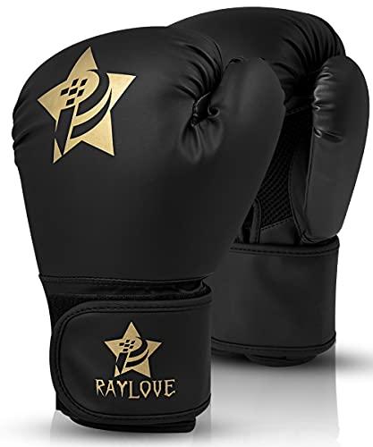 AKOADA Boxhandschuhe für Muay Thai und Training, Maya Hide Leder Kara Punchinghandschuhe für Kampfsport, Kick Boxen, Sparring, Boxsack, MMA, Sandsack Boxing Gloves (Schwarz)…