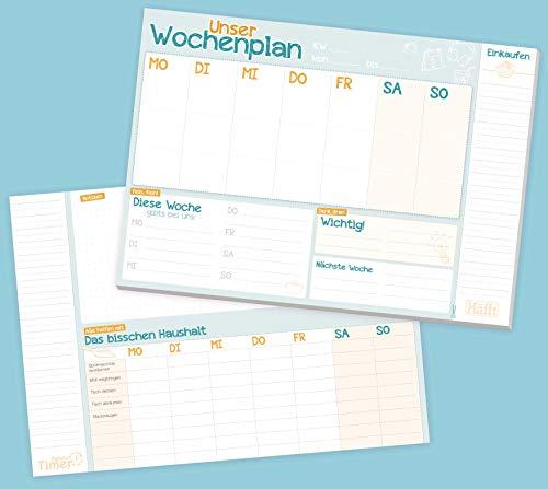 Family Wochenplaner Block A4 mit Essensplan und Einkaufsliste, 50 Blatt| Familien-Planer mit extra viel Platz für Notizen und TO DOs | nachhaltig & klimaneutral