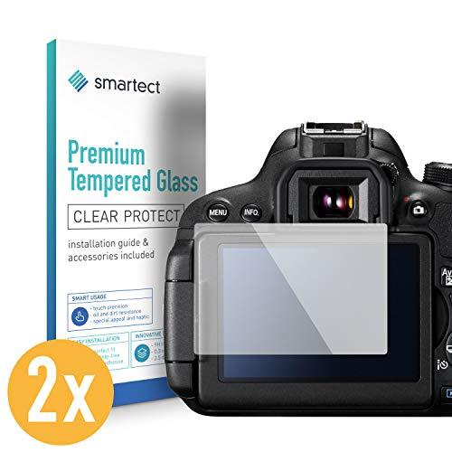 smartect Panzerglas kompatibel mit Canon EOS 700D / 750D / 70D / Rebel T5i [2 Stück] - Displayschutz mit 9H Härte - Blasenfreie Schutzfolie - Anti Fingerprint Panzerglasfolie