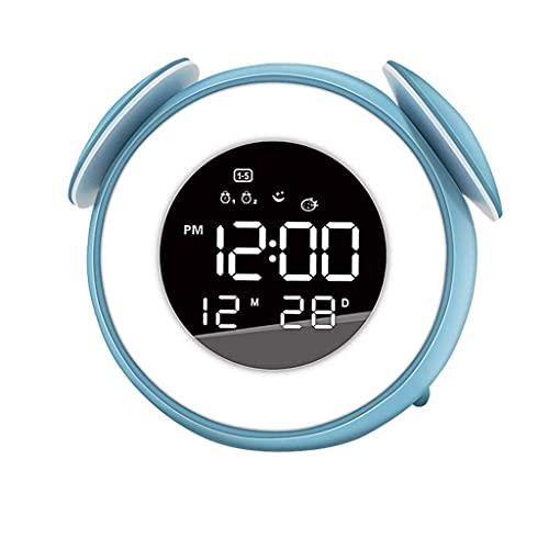 WGFGXQ Reloj Despertador de Dibujos Animados Reloj Despertador Luz de Despertador con 10 Sonidos de la Naturaleza 7 Colores Control táctil de luz Lámpara de Noche Regulable para Dormitorio Oficina