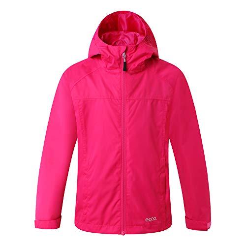 Amazon Marke: Eono Essentials Junior wasserfeste Jacke mit fester Kapuze (Dunkelrosa, 164)|Windschutz jacke