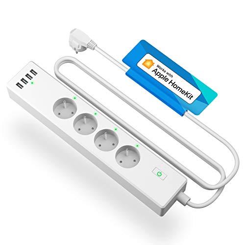 Multiprise Connectée HomeKit (FR), Multiprise Intelligente Compatible avec Apple HomeKit, Siri, Alexa, Google Home et SmartThings (4 AC Prises et 4 USB Ports), Commande Vocale et Contrôle à Distance