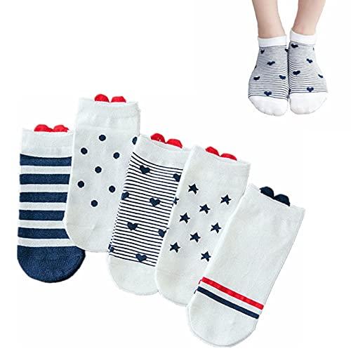 Left Girl 5 Paare Socken, Frauen-Baumwollsocken-Rosa-Nette Katzen-Knöchelsocken-Socken beiläufige Tierohr-rotes Herz Gril Socken 35-40
