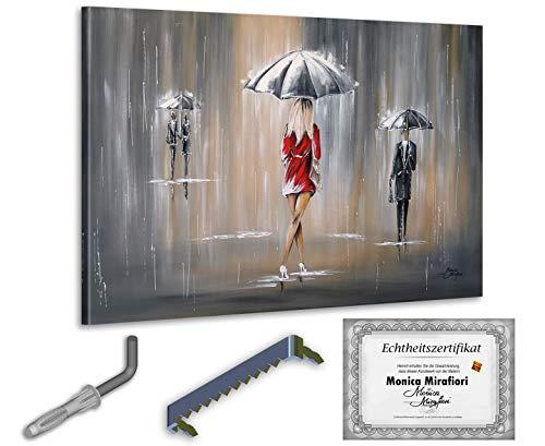 exclusive-gallery I Monica Mirafiori I Gemälde Es Regnet I 120x80cm | XXL Leinwandbild handgemalt | Acrylgemälde auf Leinwand | Sehr großes Acrylbild auf Keilrahmen I Moderne Kunst