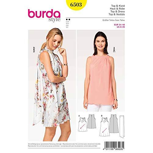 Burda 6503 Schnittmuster Top und Kleid mit schrägen Falten und Schal (Damen, Gr. 34-46) Level 2 leicht