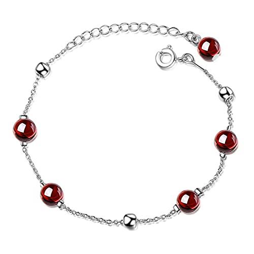 YSJJPQC Bracelets 100% 925 Sterling Silver Garnet Stone Female Bracelets Wholesale Women Short Choker Charms Chains Girls Gift (Length : 19.5cm)