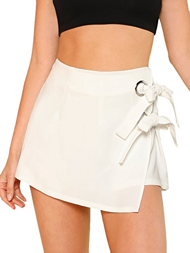WDIRARA Women's Elegant Knot Side Overlap Zipper Fly Summer Casual Skirt Shorts White M