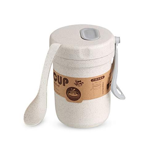 Mousyee Taza de Yogur, Recipiente Portátil de 300 ml para Muesli de Cereales con Leche, Apto para Microondas, sin BPA, Sellado para Evitar Desbordes, con Cuchara para El Desayuno (Beige)