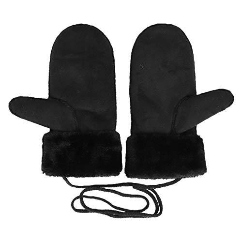 YJZQ Winter Handschuhe Warm Fäustlinge Leder Fausthandschuhe mit Schnur Outdoor Thermohandschuhe Fingerlos Gloves Skihandschuhe für Damen und Herren, Schwarz, Einheitsgröße