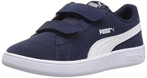 PUMA Smash v2 Suede Preschool Sneakers (Peacoat/Puma White)(2 M US Little Kid)