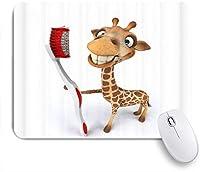 NIESIKKLAマウスパッド 子供漫画動物かわいいキリン赤い歯ブラシを持って面白い白茶色 ゲーミング オフィス最適 高級感 おしゃれ 防水 耐久性が良い 滑り止めゴム底 ゲーミングなど適用 用ノートブックコンピュータマウスマット