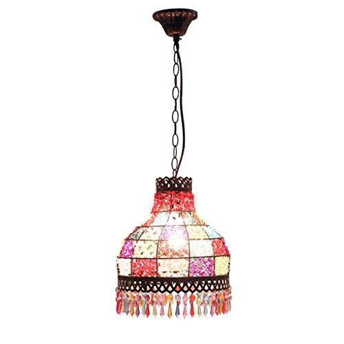 Lámpara de araña colgante Cuadrados de colores bohemios Candelabros destacados, Asia sudoriental Restaurante pastoral Café Tema Hotel Bar Mesa Colgante de cristal Linterna Luminaria de techo