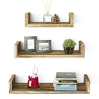 SRIWATANA Floating U Shelves Wall Mounted, Solid Wood Wall Shelves Set of 3