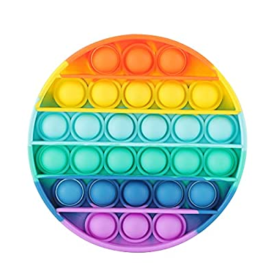 ASONA Push Bubble Pop Fidget Sensory Toy, Circle Colorful Push It Popping Silicone Game Toy Anxiety & Stress Reliever Autism Learning Materials for Kids Children Teens Adults