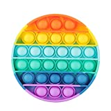 ASONA Fidget Toy with Popping Sound, Push Bubble Silicone Sensory Toy Adults Anxiety Stress Reliever Autism Learning Materials Gift for Kids Teens (Rainbow Circle 1-Pack)