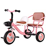 C-Xka Tandem Bike, Perfect for Two Children Ages 3+, Encourages Active Play, Social Interaction, Durable Tricycle Design, Solid Tires, Built-in Safety Features (Color : Pink)