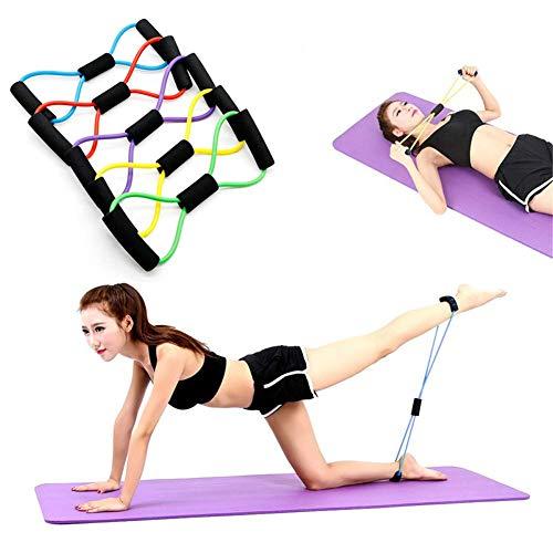 WYJW weerstandsband voor oefeningen met toner toner, lichaamsvorm, 8 vormen, 5-delige set, natuurlijke latex banden voor armen, benen, pilates, training