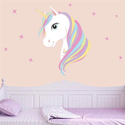 Decoración infantil de pared, unicornio impresión bling estrellas eliminación arte pegatinas DIY niños niñas dormitorio decoración mural de la pared (A)