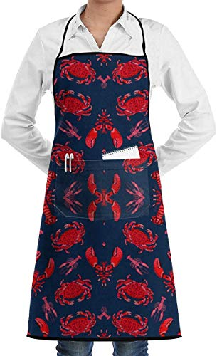 dhdhgdfj Grembiuli,Grembiuli da Cucina Crab And Lobster Crabs Lobsters Ocean Nautical Sum Adjustable Bib Apron Waterdrop Resistant with 2 Pockets Cooking Kitchen Aprons for Women Men Chef