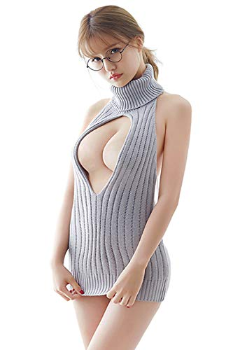 Lucky2Buy Women's Sexy Virgin Killer Sleeveless Open Back Anime Cosplay Sweater Turtle-Neck Tied Pullover