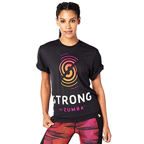 Zumba Fitness Workout tee with Fashion Print Camiseta, Unisex Adulto, Naranja, M/L