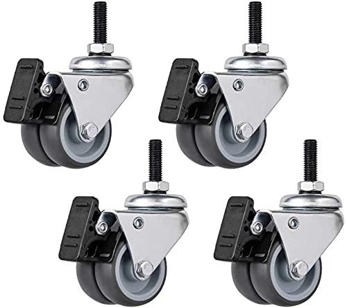 Rollen 4 Gummirollen 2 Zoll 50 mm M6 / M8 / M10 Gewinde Doppelrad Silent Universal Swivel Ersatzmöbel mit Bremse Leises Rollen für Trolley Sofa Chair - 200Kg - (Schraube) langlebig