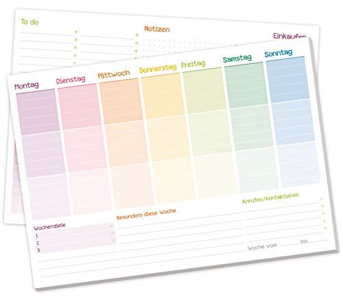 Wochenplaner Block A4 ohne festes Datum [Rainbow] 50 Blatt |Terminplaner mit To-Do-Liste, Einkaufsliste, großem Notizfeld und vielem mehr - von Trendstuff by Häfft | klimaneutral & nachhaltig