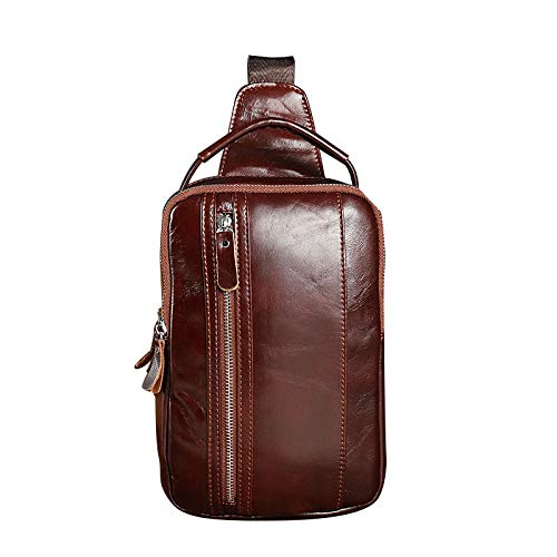 HONGHUIKE Sling Backpack WATERFLY Mochila Cuero Genuino Casual Daypack Chest Shoulder Bag for Hombres Boy Cover Pack Mochila for Bicicleta Deporte Senderismo Viaje Camping (Color : Reddish Brown)